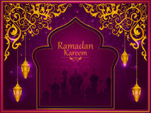 Decorated Islamic Arabic floral design for Ramadan Kareem background on Happy Eid festival Stock Image