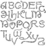 Decorated Latin alphabet Stock Images