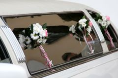 Decorated limousine. On the wedding day Stock Image