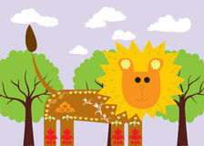 Decorated lion. Ornate lion is designed for children`s rooms. Green trees in the background. Figure geometric style Stock Image