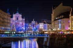 Decorated Ljubljana for New Years holidays, panorama Stock Photo
