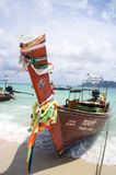 Decorated long-tail boat in Thailand Royalty Free Stock Image