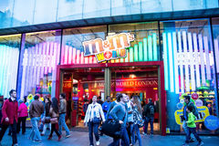 Decorated M&M's World store at Leicester Square in London Royalty Free Stock Photo