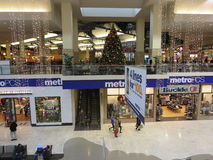 Decorated mall. Mall is ready for christmas sale royalty free stock photography