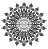 Decorated mandala in grey with arrows isolated Stock Photos