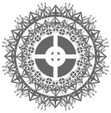 Decorated mandala in grey tones isolated Royalty Free Stock Photo