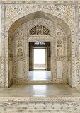 Decorated marble wall and door at Agra Fort Palace Royalty Free Stock Photography