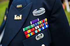Decorated Marine Soldier for United States. EUGENE, OR - AUGUST 2, 2014: United States Marine decorated soldier in full uniform at a wedding reception Stock Photo