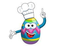 Decorated mascot easter egg cook hat isolated. On white Stock Photo