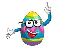 Decorated mascot easter egg glasses nerd finger up isolated. On white Stock Photography