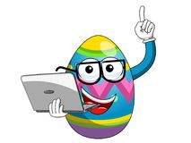 Decorated mascot easter egg holding laptop isolated Royalty Free Stock Photos