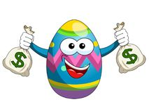 Decorated mascot easter egg holding sacks of money isolated. On white Royalty Free Stock Images