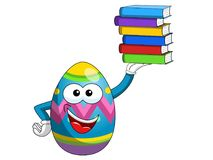 Decorated mascot easter egg holding stack of colorful books isol Stock Photo