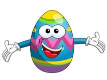 Decorated mascot easter egg hug or open arms isolated. On white Royalty Free Stock Photography