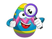 Decorated mascot easter egg magnifying isolated. On white Stock Image