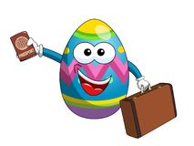 Decorated mascot easter egg passport and vintage suitcase isolat Royalty Free Stock Photos