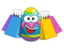Decorated mascot easter egg shopping bags. Isolated on white Royalty Free Stock Photos