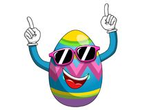 Decorated mascot easter egg wearing sunglasses having fun finger. S up isolated on white Royalty Free Stock Photography