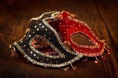 Decorated masks on the table Royalty Free Stock Photography