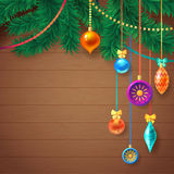 Decorated Merry Christmas Tree Branch. Happy New Year decoration frame on Wood with Space for your Text. Vector Illustration Stock Image