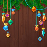 Decorated Merry Christmas Tree Branch. Happy New Year decoration frame on Wood with Space for your Text. Vector Illustration Royalty Free Stock Images