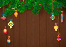 Decorated Merry Christmas Tree Branch. Happy New Year decoration frame on Wood with Space for your Text. Vector Illustration Stock Photo