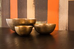 Decorated metal bowls Stock Photography