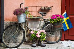 Decorated military Bike In Defense area Stockholm Stock Photo