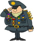 Decorated Military Man. This illustration depicts a man in military uniform and saluting Stock Image