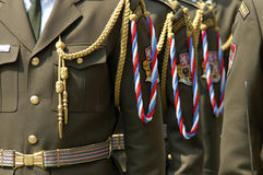 Decorated military uniforms Stock Photo