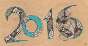 2016 decorated with monkey. New year 2016 decorated with monkey capuchin stock illustration
