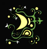 Colorful illustration with Decorated moon. Illustration representing a stylized decorated moon. image that can be used in many ways, greeting cards, flyers etc Royalty Free Stock Images