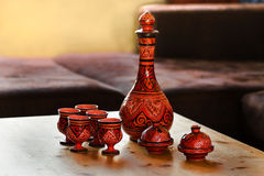 Decorated Moroccan pottery on table Royalty Free Stock Image