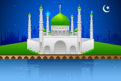Decorated mosque on Eid Mubarak (Happy Eid) Royalty Free Stock Photos