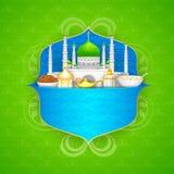 Decorated mosque on Eid Mubarak (Happy Eid) Stock Photo