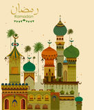 Decorated mosque in Eid Mubarak Happy Eid Ramadan background. In vector