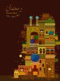 Decorated mosque in Eid Mubarak Happy Eid Ramadan background. In vector stock illustration