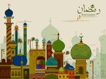 Decorated mosque in Eid Mubarak Happy Eid Ramadan background. In vector royalty free illustration