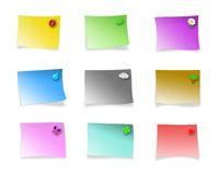 Decorated multicolored sticky notes. Blank multicolored postit-like sticky notes you can write text into, with little illustrations on a corner to distinguish Royalty Free Stock Photography