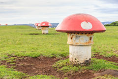 The decorated mushroom vents with blurred background, Auckland, Royalty Free Stock Photos