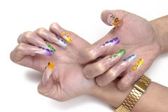 Decorated nails Stock Image