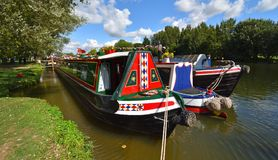 Decorated Narrow Boat moored on the river stock images