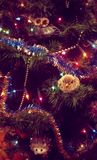 Decorated New Year/Christmas Tree & Animal Toys Royalty Free Stock Images