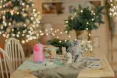 Decorated New Year`s table Royalty Free Stock Images