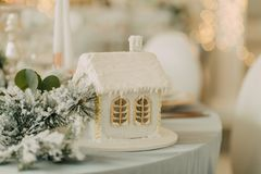 Decorated New Year`s table Royalty Free Stock Photos