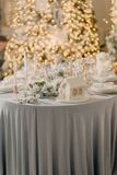Decorated New Year`s table Stock Photos