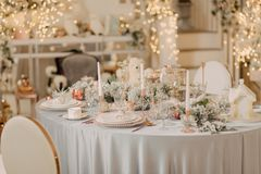 Decorated New Year`s table Royalty Free Stock Photography