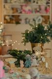 Decorated New Year`s table Royalty Free Stock Photo