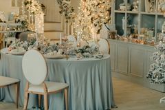Decorated New Year`s table Stock Images