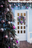 Decorated New Year tree in winter patio Royalty Free Stock Photography